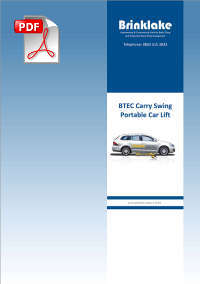 Brinklake BTEC Carry Swing Portable Car Lift information PDF